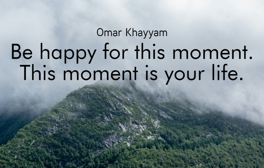Quote- Be happy for this moment. This moment is your life. Omar Khayyam