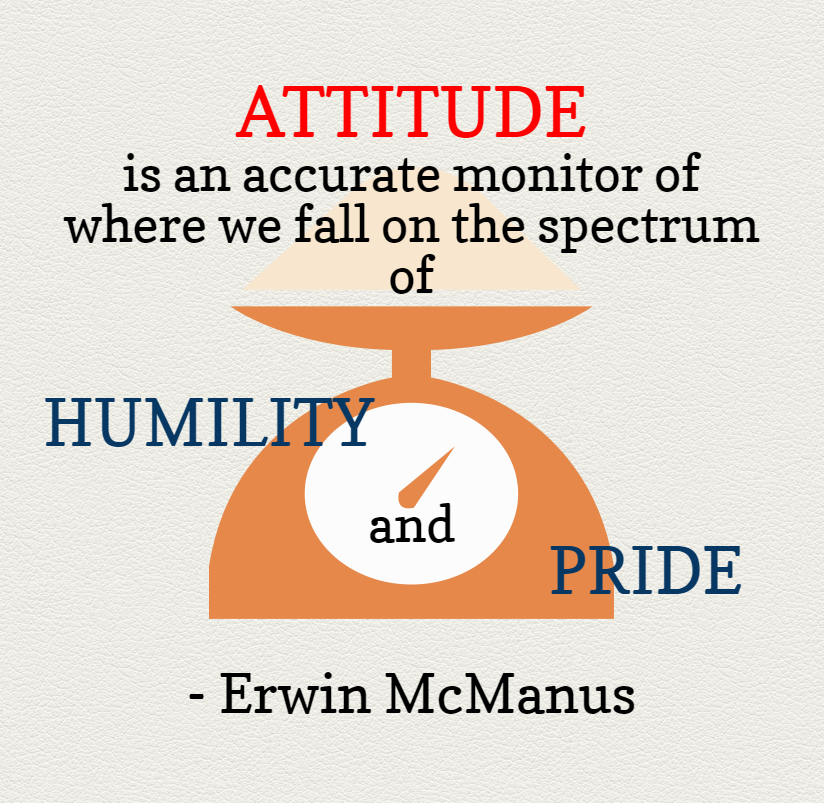 Quote- Attitude is an accurate monitor of where we fall on the spectrum of Humility and Pride. Erwin McManus