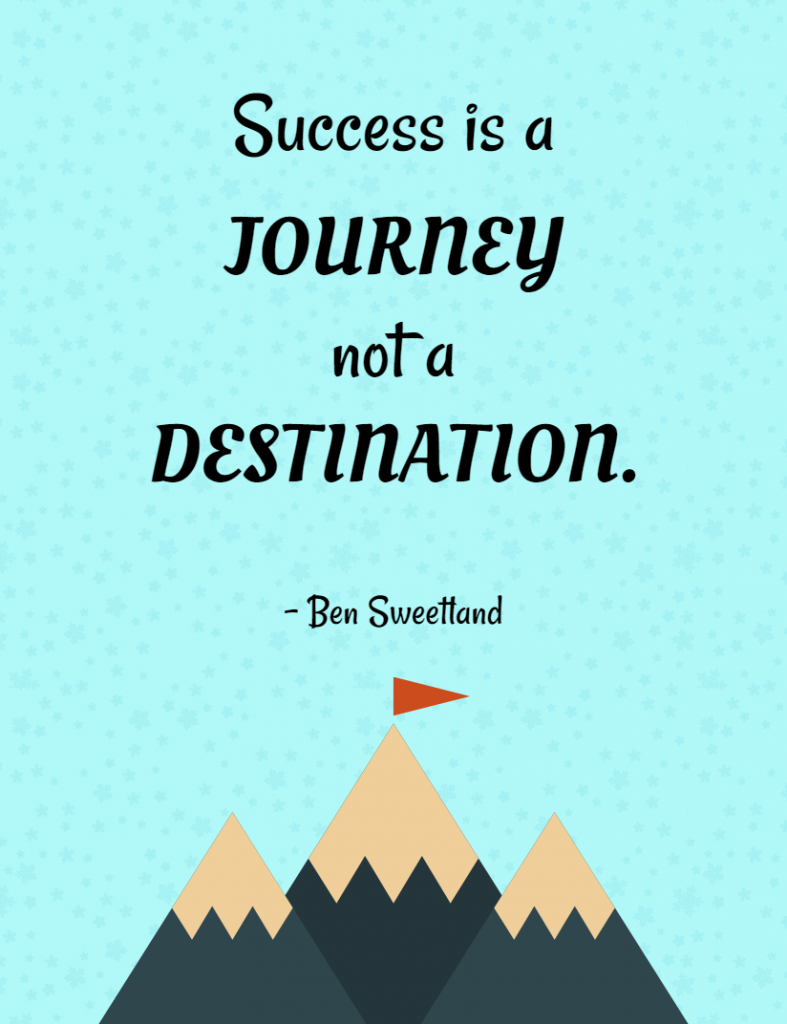 Quote- Success is a journey not a destination. Ben Sweetland